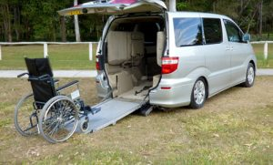wheelchair on ramp into van